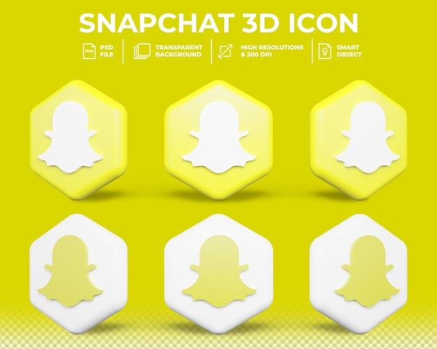 Icône 3d isolé de médias sociaux snapchat moderne