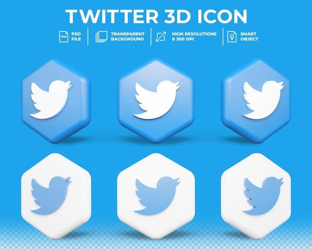 Icône 3d isolé de médias sociaux twitter moderne