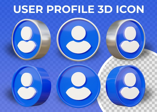 Icône 3d isolé de profil utilisateur plat réaliste