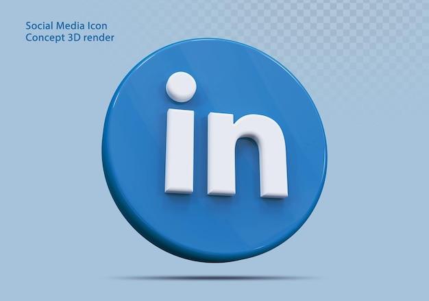 Icône 3d linkedin médias sociaux