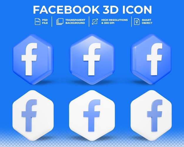 Icône 3d de médias sociaux facebook moderne