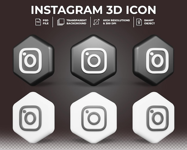 Icône 3d de médias sociaux instagram moderne