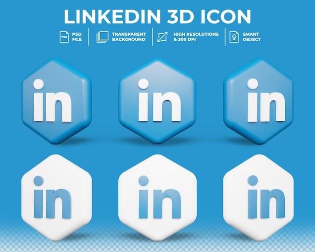 Icône 3d de médias sociaux linkedin moderne