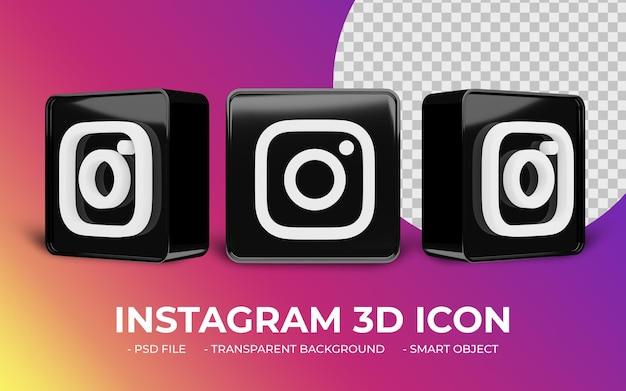 Icône 3d de médias sociaux logo instagram