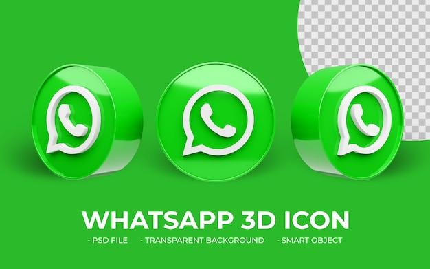 Icône 3d de médias sociaux moderne logo whatsapp isolé