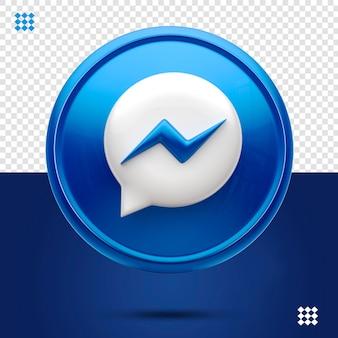 Icône 3d messenger bleu isolé