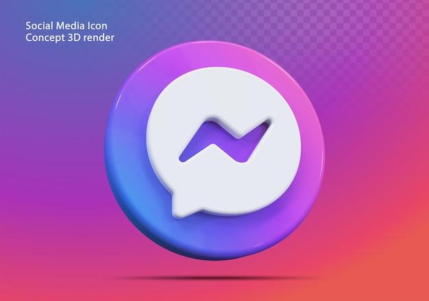 Icône 3d messenger médias sociaux
