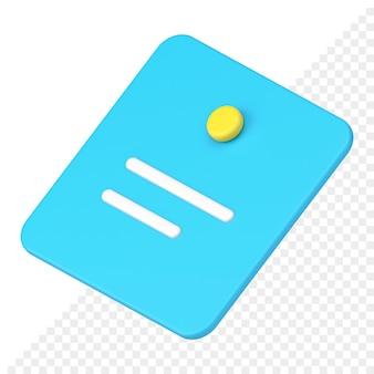 Icône 3d de note de mémoire