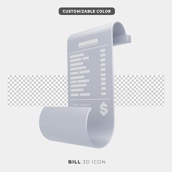 Icône 3d de paiement de facture