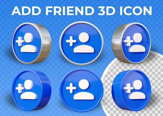 Icône 3d plat réaliste ajouter un ami isolé