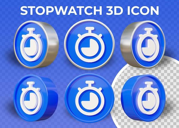 Icône 3d réaliste de chronomètre plat isolé
