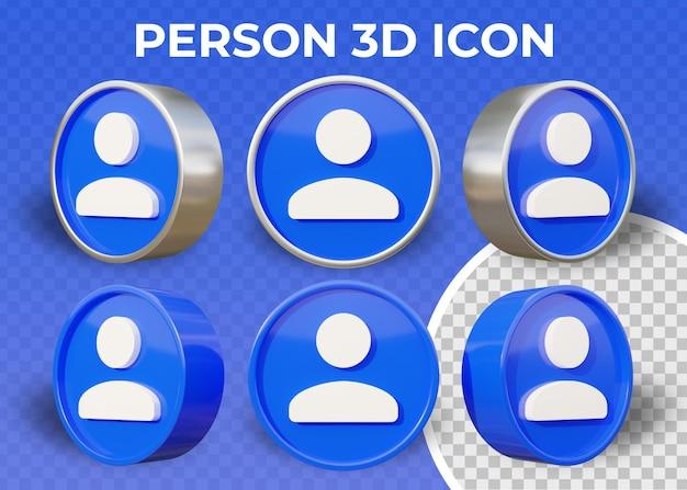 Icône 3d réaliste de personne plate isolée
