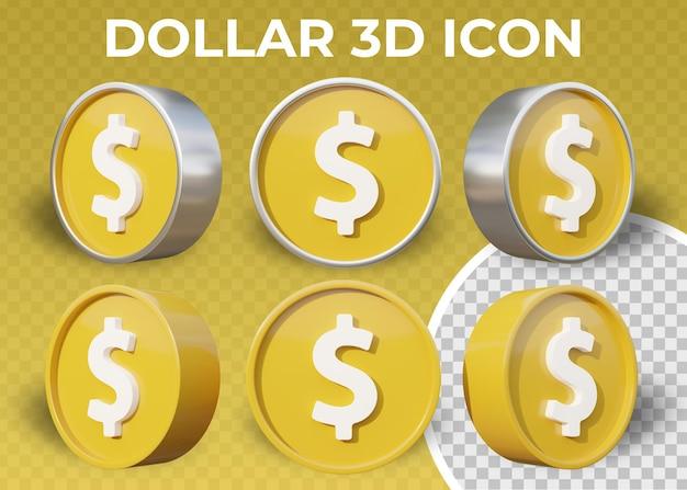 Icône 3d réaliste de signe dollar plat isolé