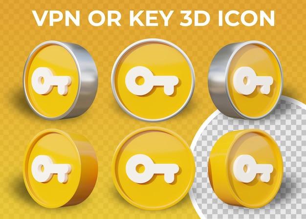 Icône 3d réaliste de vpn plat ou clé isolée