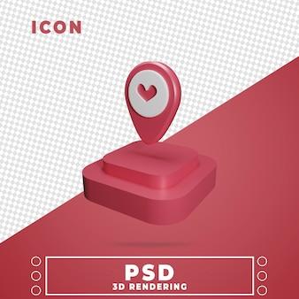 Icône 3d avec rendu podium carte pin isolé