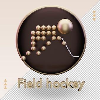 Icône 3d sports olympiques d'or hockey sur gazon symbole rendu vue de face
