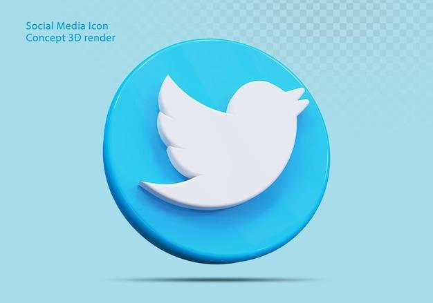 Icône 3d twitter médias sociaux