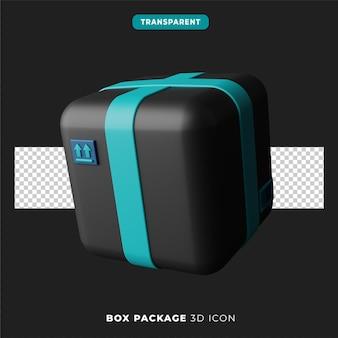 Icône 3d de la version sombre du paquet de boîte
