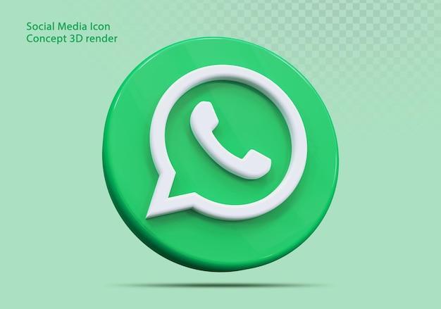 Icône 3d whatsapp médias sociaux