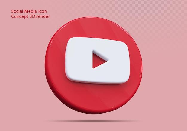 Icône 3d youtube médias sociaux