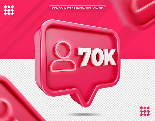 Icône 70k followers sur le design instagram