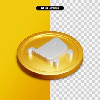 Icône d'achat de rendu 3d sur cercle doré isolé