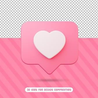 Icône d'amour 3d en rendu 3d