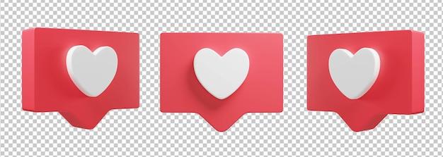 Icône de l'amour illustration 3d