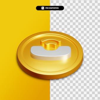 Icône d'appel de rendu 3d sur cercle doré isolé