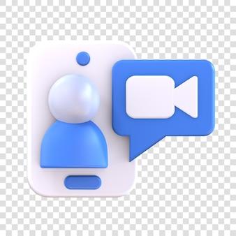 Icône d'appel vidéo de rendu 3d, smartphone avec personnes et symbole vidéo