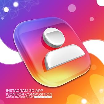Icône De L'application 3d Instagram Pour La Composition PSD Premium
