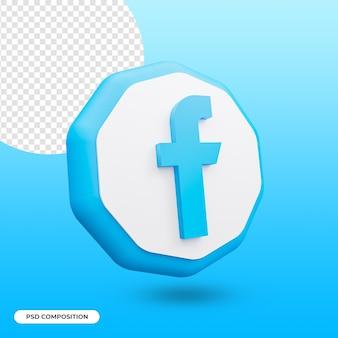 Icône de l'application facebook isolée dans le rendu 3d