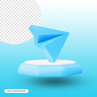 Icône de l'application télégramme isolée dans le rendu 3d