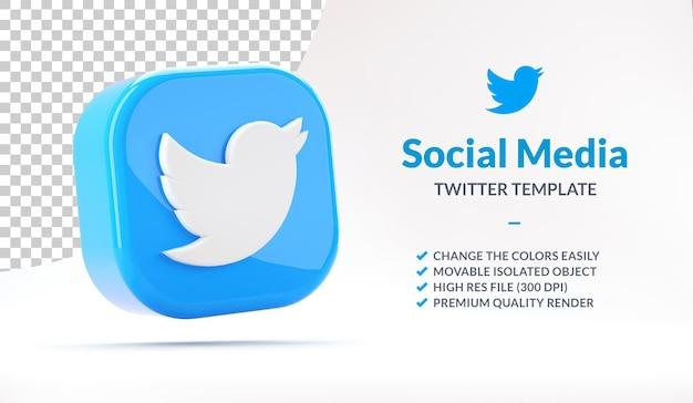Icône d'application twitter isolée flottante pour le modèle de marketing des médias sociaux en rendu 3d