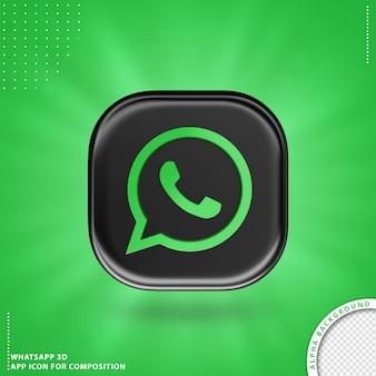 Icône d'application whatsapp pour composition noir