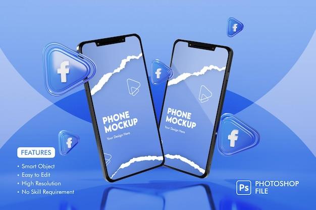 Icône d'applications facebook 3d avec maquette de smartphone