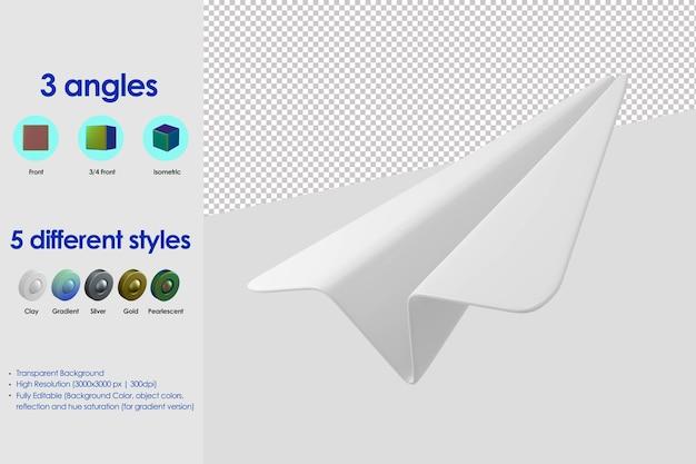 Icône d'avion en papier 3d
