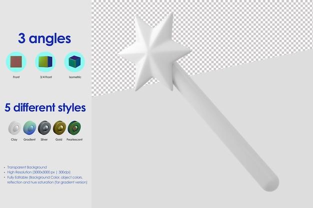 Icône de baguette magique 3d