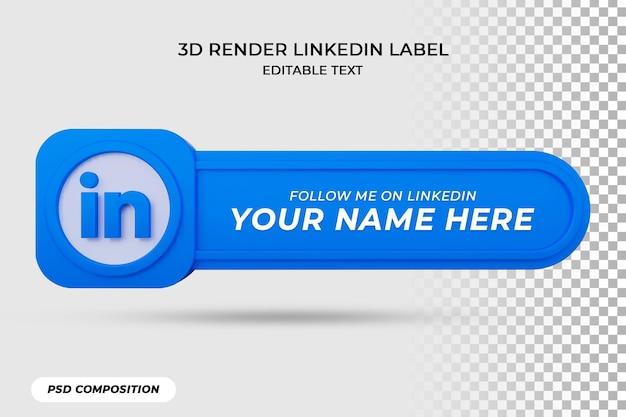 L'icône de la bannière suit sur l'étiquette de rendu 3d de linkedin