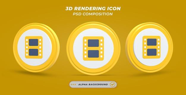 Icône de bobine de film en rendu 3d
