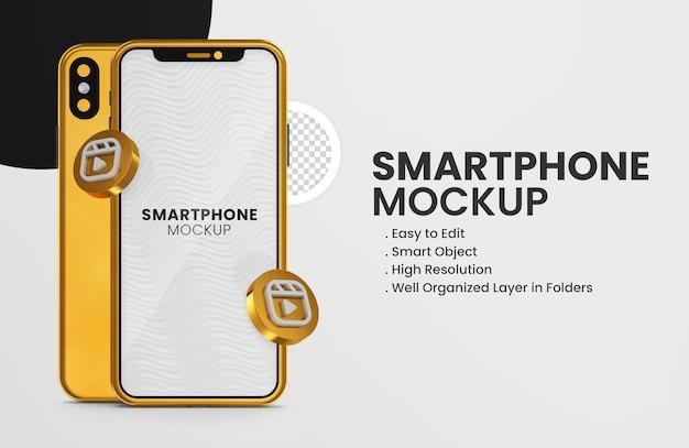 Icône de bobines instagram de rendu 3d sur une maquette de smartphone en or
