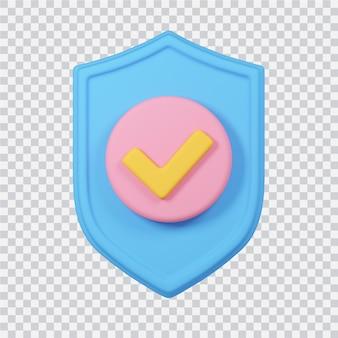 Icône de bouclier isolé sur blanc image de rendu 3d