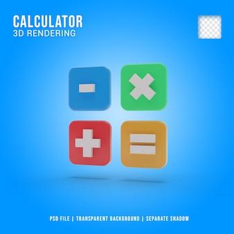 Icône de calculatrice 3d isolé