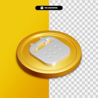 Icône de calendrier de rendu 3d sur cercle doré isolé