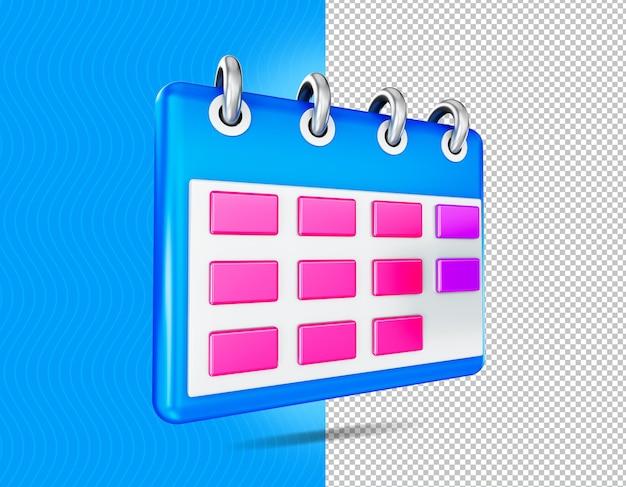 Icône de calendrier de rendu 3d