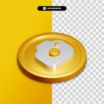 Icône de caméra de rendu 3d sur cercle doré isolé