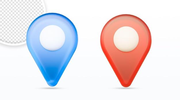 Icône de carte de localisation de broche de cartes isolée