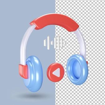 Icône de casque de rendu 3d isolé