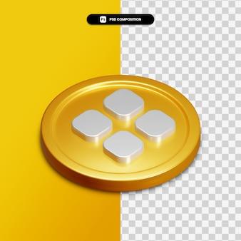 Icône de catégorie de rendu 3d sur cercle doré isolé