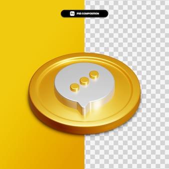 Icône de chat de rendu 3d sur cercle doré isolé